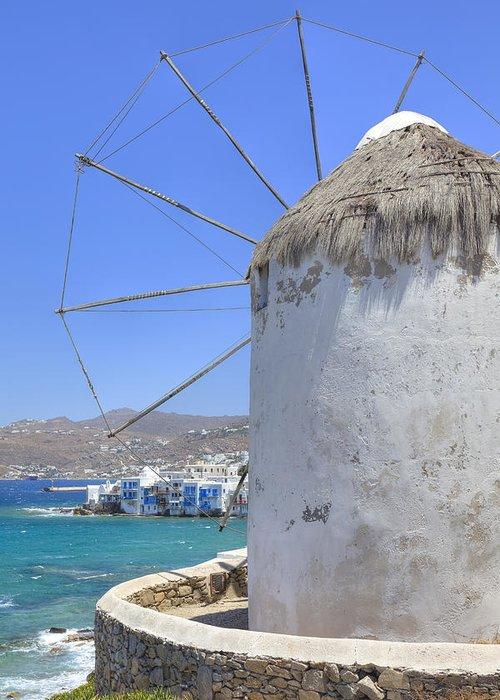 Windmill Greeting Card featuring the photograph Mykonos by Joana Kruse