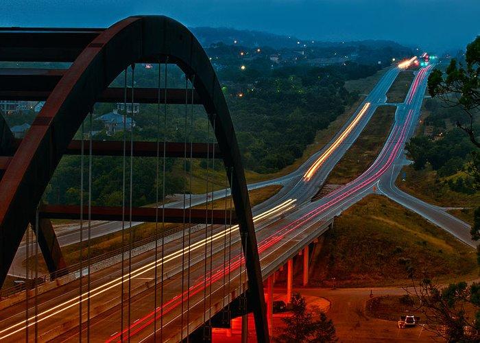 360 Bridge Greeting Card featuring the photograph 360 Bridge Morning Traffic by Lisa Spencer