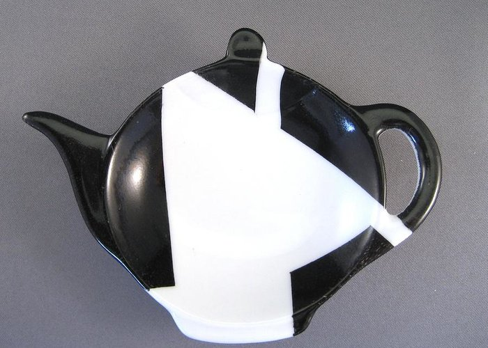 Porcelain Greeting Card featuring the ceramic art 367 Teabag Holder Black White by Wilma Manhardt
