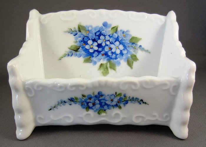 Porcelain Greeting Card featuring the ceramic art 377 Cardholder With Forget-me-nots by Wilma Manhardt