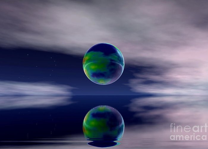 Nature Greeting Card featuring the digital art Planet Reflection by Odon Czintos
