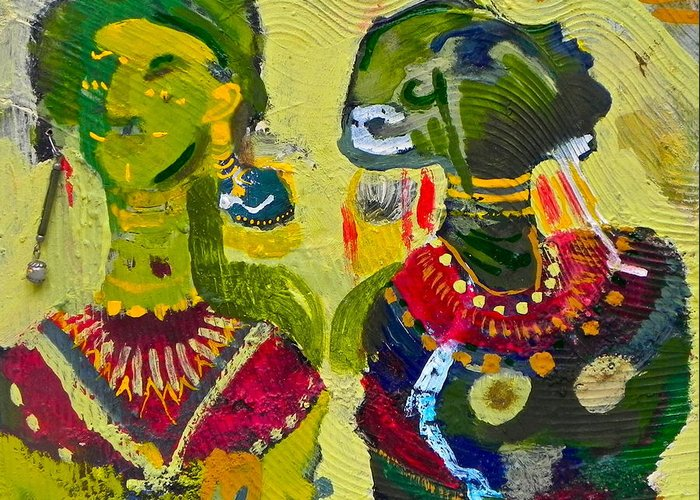Painting Greeting Card featuring the painting African Bead Painting by Mohamed-saeed Omer