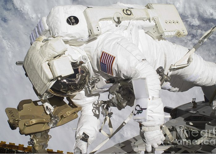 Components Greeting Card featuring the photograph An Astronaut Participates In A Session by Stocktrek Images