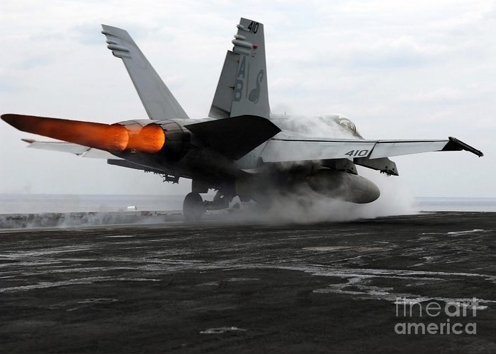 Color Image Greeting Card featuring the photograph An Fa-18c Hornet Launches by Stocktrek Images