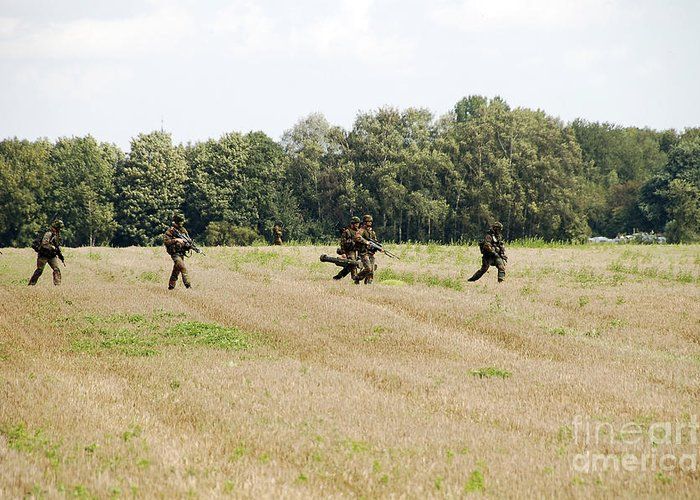 Adults Only Greeting Card featuring the photograph Belgian Paratroopers Proceeding by Luc De Jaeger