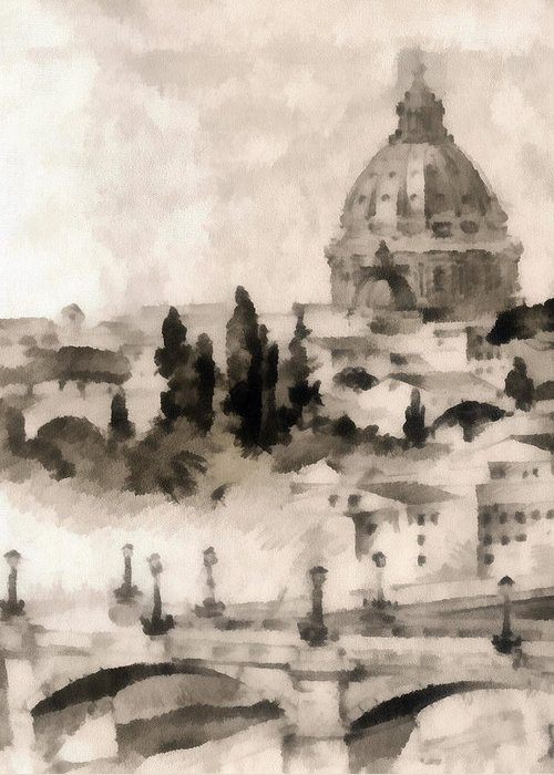 Nature Greeting Card featuring the painting By Italy by Odon Czintos