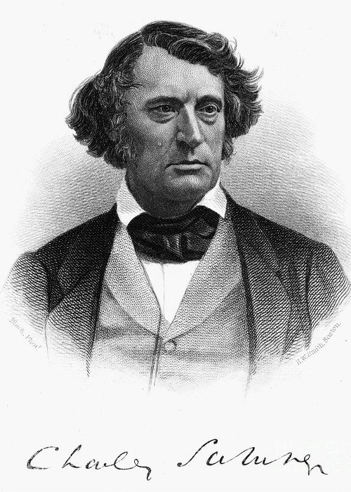 1868 Greeting Card featuring the photograph Charles Sumner (1811-1874) by Granger