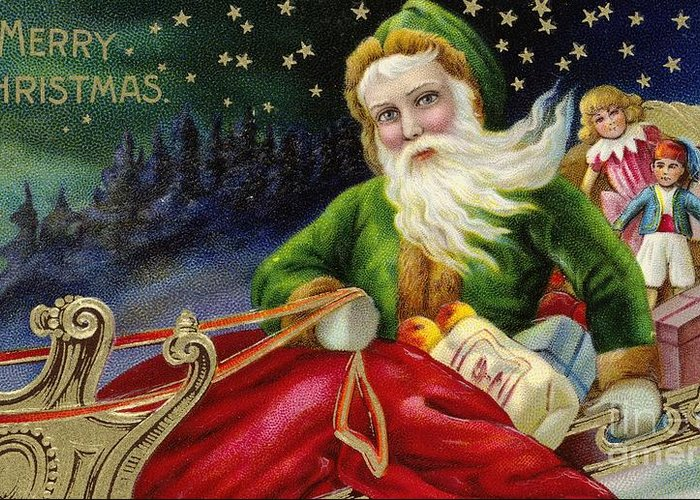 Winter Greeting Card featuring the painting Christmas Card by American School