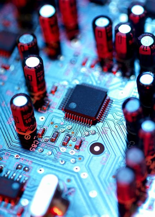 Circuit Board Greeting Card featuring the photograph Circuit Board by Tek Image