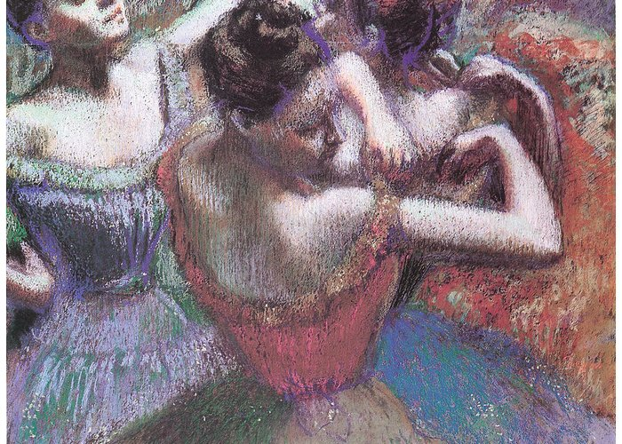 Dancers Greeting Card featuring the pastel Dancers by Edgar Degas