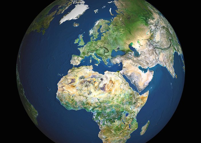 Eurasia Greeting Card featuring the photograph Earth by Planetobserver