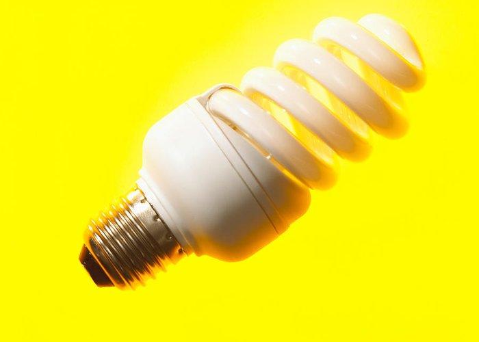 Light Bulb Greeting Card featuring the photograph Energy-saving Light Bulb by Mark Sykes