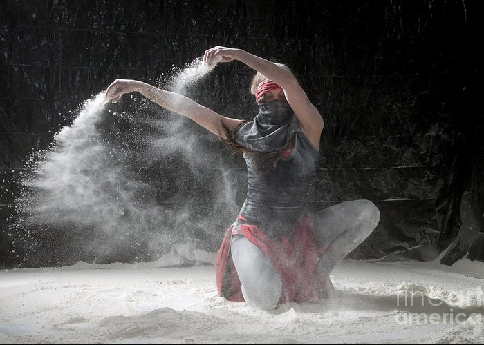 Dancing Greeting Card featuring the photograph Flour Dancer Series by Cindy Singleton