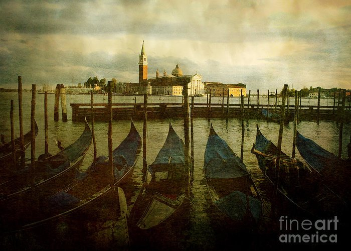 Aged Greeting Card featuring the photograph Gondolas. Venice by Bernard Jaubert