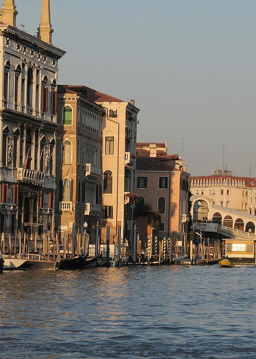 Grand Canal Greeting Card featuring the pyrography Grand Canal. Venice by Bernard Jaubert