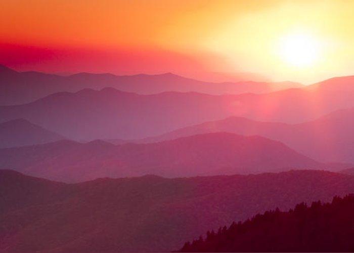 Great Smokie Mountains Sunset Greeting Card featuring the photograph Great Smokie Mountains Sunset by Dustin K Ryan