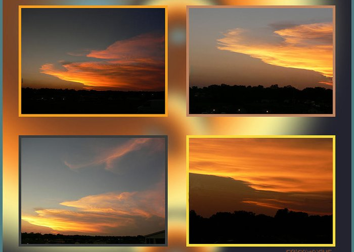 Ericamaxine Greeting Card featuring the photograph 4 In 1 Sunsets by Ericamaxine Price