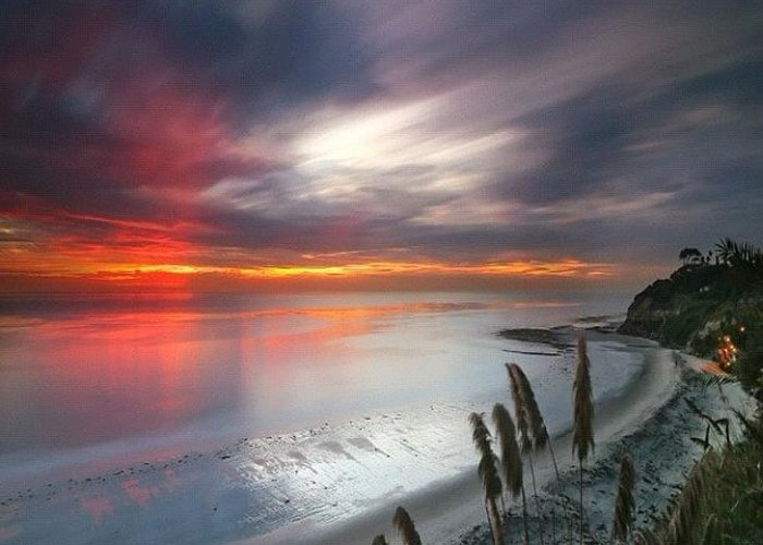 Greeting Card featuring the photograph Long Exposure Sunset At A North San by Larry Marshall