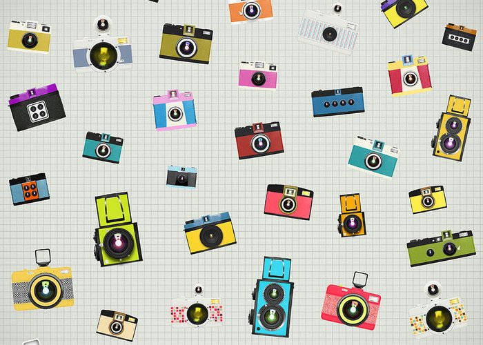 Analog Greeting Card featuring the photograph Retro Camera Pattern by Setsiri Silapasuwanchai