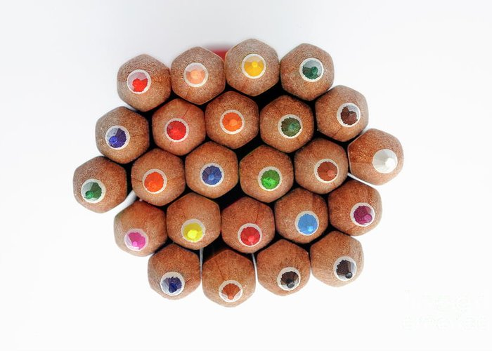 Variation Greeting Card featuring the photograph Row Of Colorful Crayons by Sami Sarkis
