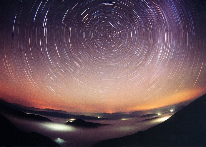 Odet Greeting Card featuring the photograph Star Trails by Laurent Laveder