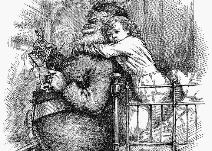 1881 Greeting Card featuring the photograph Thomas Nast: Santa Claus by Granger