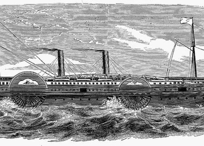 1867 Greeting Card featuring the photograph 4 Wheel Steamship, 1867 by Granger