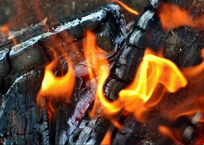 Hot; Wood; Fire; Summer; Barbecue; Red; Orange; Steak; Hamburger; Garden; Food; Family; Friends; Warm; Winter; Cosy; Decorative; Background; Braai; Flame; Greeting Card featuring the photograph Wood Fire by Werner Lehmann