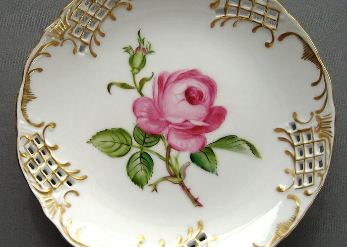 Porcelain Greeting Card featuring the ceramic art 432 Small Rose Plate by Wilma Manhardt