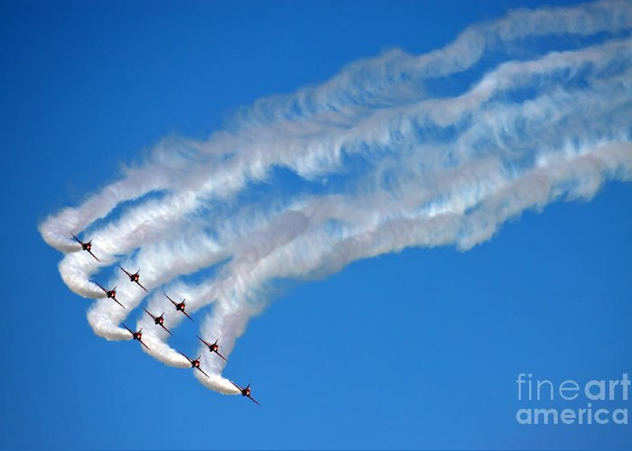 Greeting Card featuring the photograph Red Arrows by Angel Ciesniarska