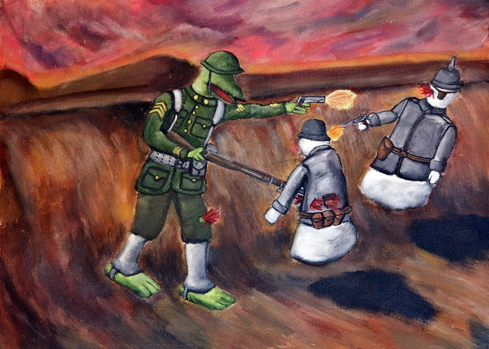 Sargeant Dragon Ghost Kaiser World War One Doughboy German American Soldier Greeting Card featuring the painting 48 - Sargeant Dragon Vs The Ghost Kaiser by Patrick Charles