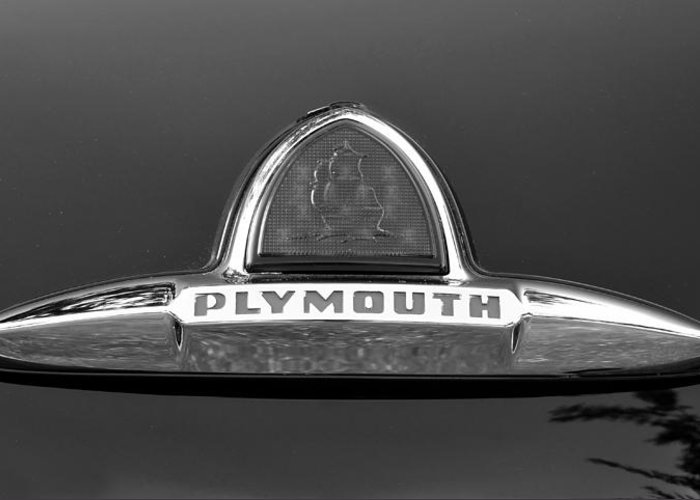 Fine Art Photography Greeting Card featuring the photograph 49 Plymouth Emblem by David Lee Thompson