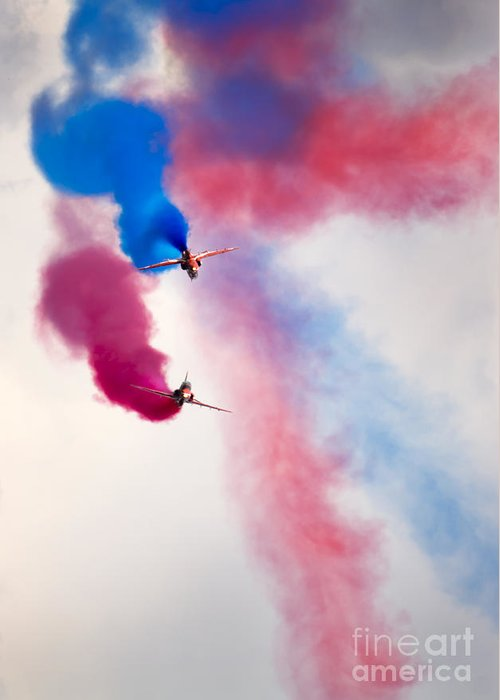 Red Arrows Greeting Card featuring the photograph Red Arrows by Angel Ciesniarska