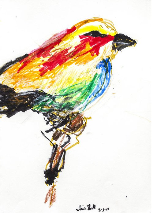 Bird Greeting Card featuring the drawing Untitled by Iris Gill