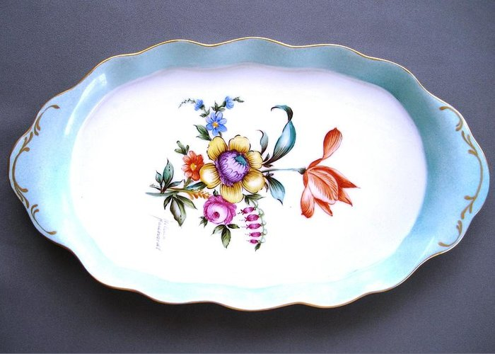 Porcelain Greeting Card featuring the ceramic art 495 Oval Tray Dresden Style by Wilma Manhardt