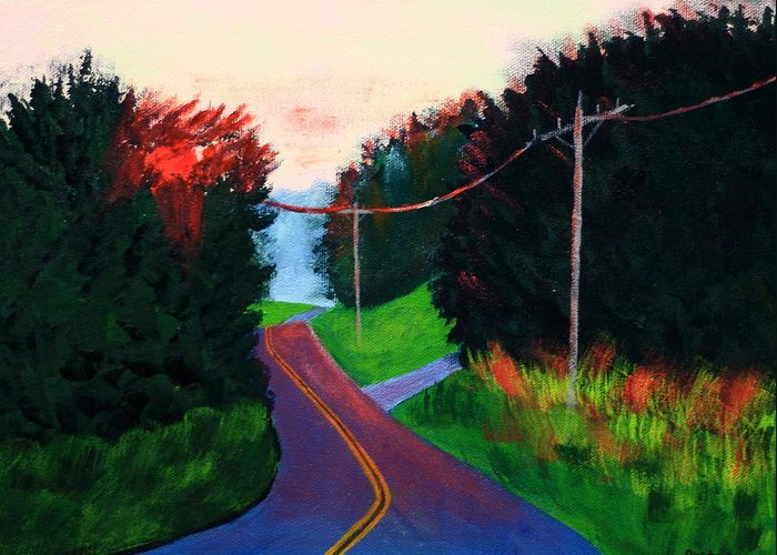 Maine Greeting Card featuring the painting 4th Of July Sunset by Laurie Breton