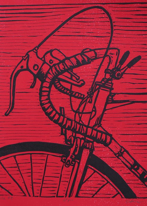 Bike Greeting Card featuring the drawing Bike 2 by William Cauthern