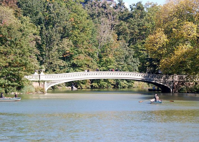 Central Park Greeting Card featuring the photograph Bow Bridge by Rob Hans