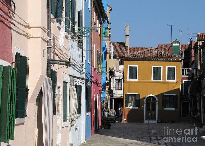 Facade Peinte Greeting Card featuring the photograph Burano Island. Venice by Bernard Jaubert