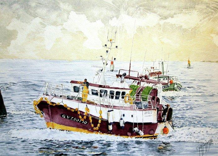 Sea Scape Greeting Card featuring the painting 5 Di Pomeriggio A Guilvinec by Giovanni Marco Sassu
