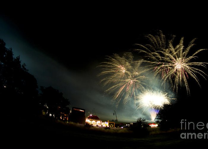 Night Greeting Card featuring the photograph Fireworks by Angel Tarantella