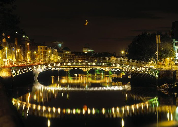 19th Century Greeting Card featuring the photograph Hapenny Bridge, River Liffey, Dublin by The Irish Image Collection