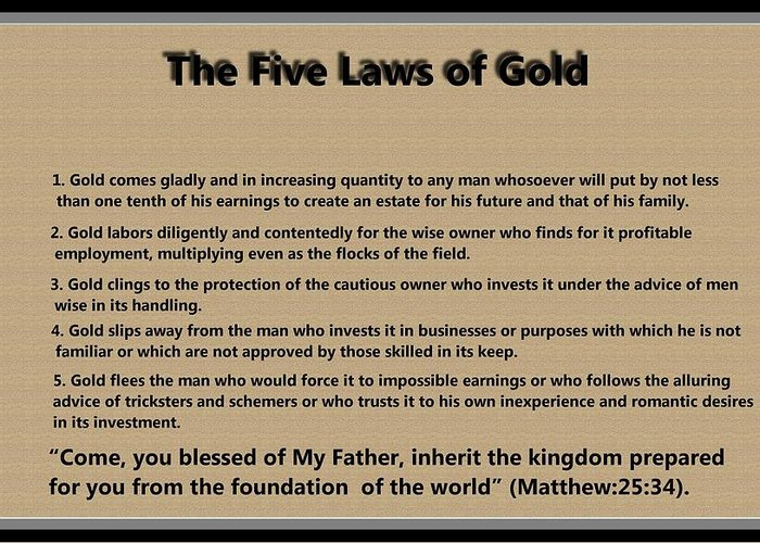5 Laws Of Gold Greeting Card featuring the digital art 5 Laws Of Gold by Ricky Jarnagin