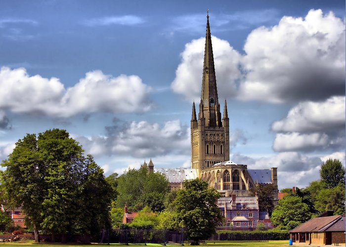 Norwich Cathedral Greeting Card featuring the photograph Norwich Cathedral Norfolk England by Darren Burroughs