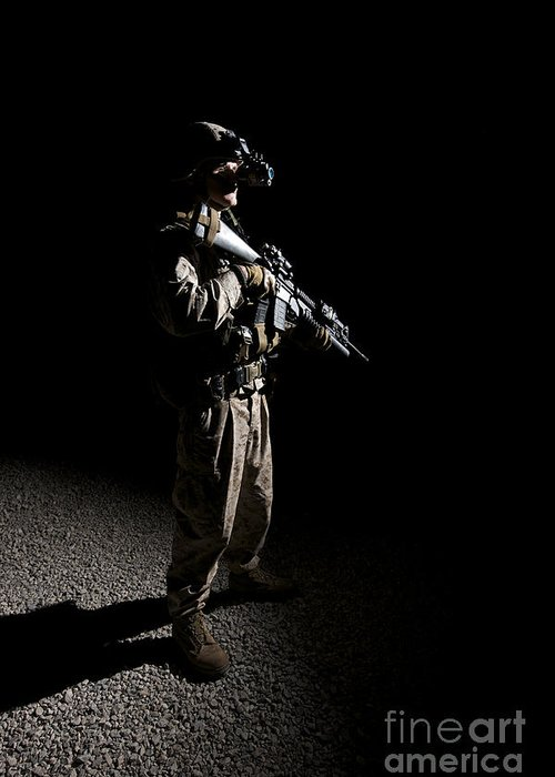M203 Greeting Card featuring the photograph Partially Silhouetted U.s. Marine by Terry Moore