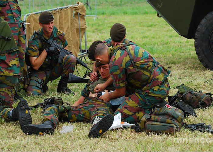 Applying Greeting Card featuring the photograph Soldiers Of A Belgian Infantry Unit by Luc De Jaeger