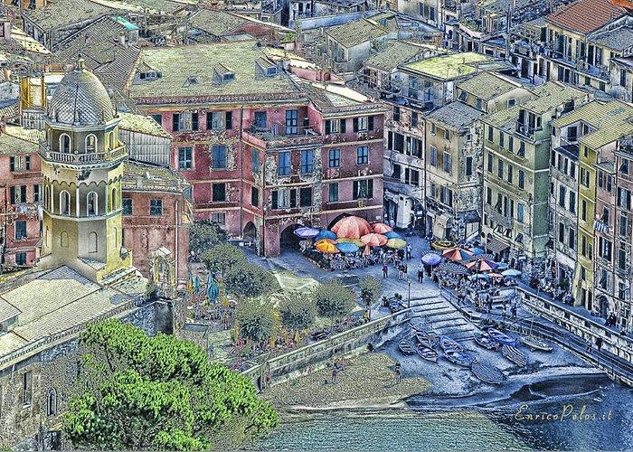 Riomaggiore Greeting Card featuring the photograph 5 Terre Vernazza Landscape by Enrico Pelos