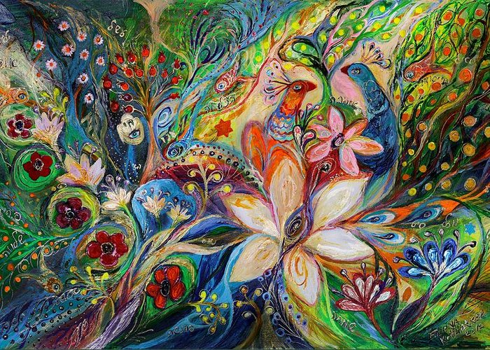 Original Greeting Card featuring the painting The Magic Garden by Elena Kotliarker