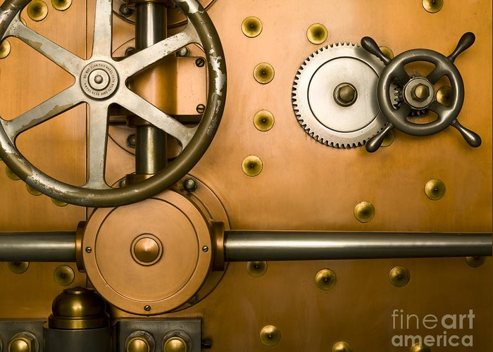 Architectural Greeting Card featuring the photograph Tumbler On A Vault Door by Adam Crowley