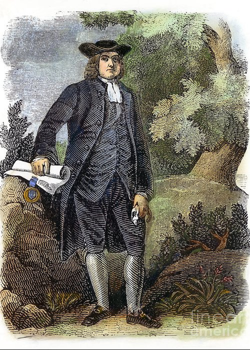 17th Century Greeting Card featuring the photograph William Penn (1644-1718) by Granger